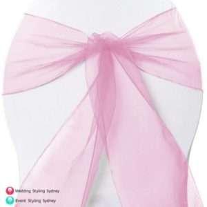 Pink-organza-chair-sash-hire