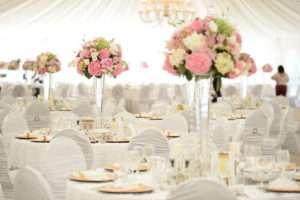 Tall-Clear-Pilsener-Vase-with-Floral-Arrangement