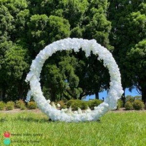 white-artificial-floral-wedding-arch